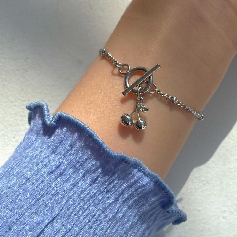 Link, Chain 2021 Summer Cherry Bracelets For Women Vintage Fashion Simple Metal Bracelet Punk Elegant Female Girl Jewelry Gifts