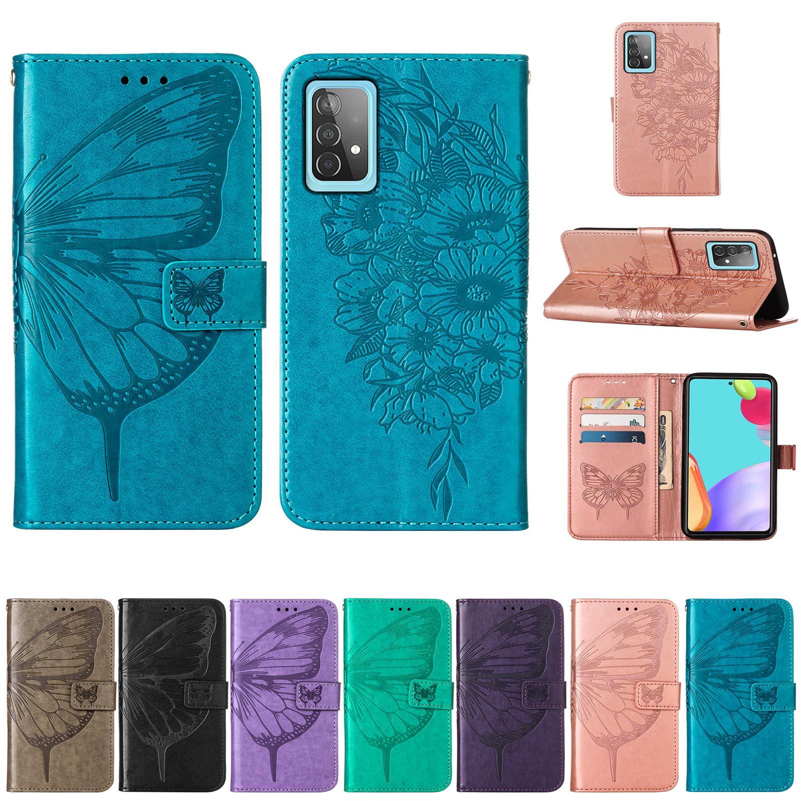 Impressum Leder Brieftasche Hüllen für Samsung Galaxy A72 4G A42 5G A52 Moto G Play Stylus Power Print Schmetterlingsblume Blumen Stilvolle ID Kartensteckplatz Luxushalter Flip Cover
