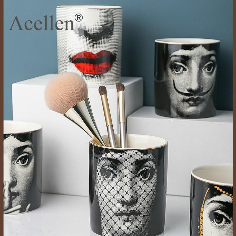 Milão lady lady face aromaterapia vela titular caixa de armazenamento jar mesa mesa decoração cerâmica cerâmica ornamentos moda 210318
