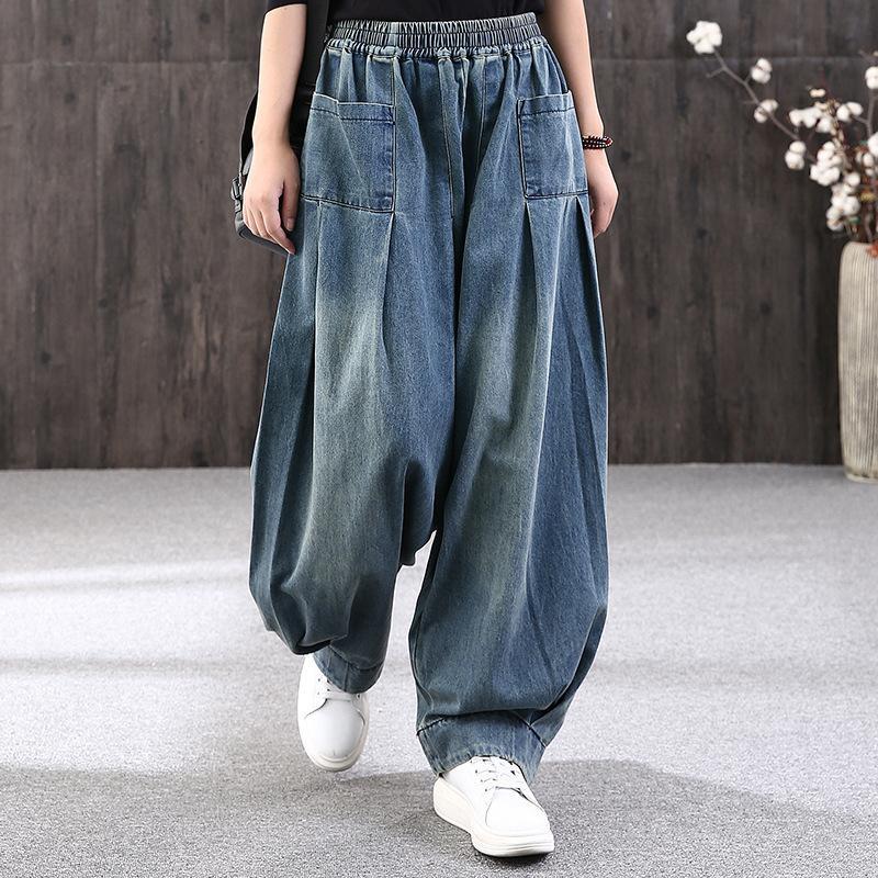 Max Lulu Primavera Coreano Designer Pantalons Mulheres Largura Perna Calças Senhoras Loose Elastic Jeans Feminino Vintage Punk Calças Plus Size