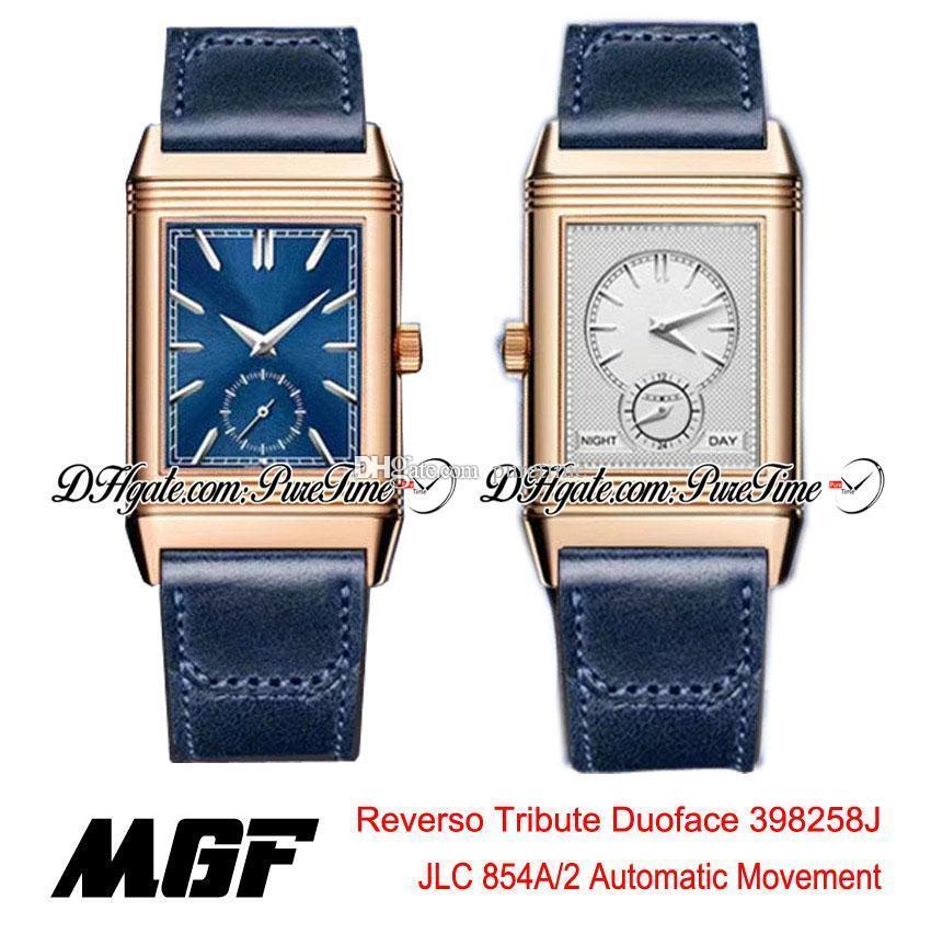 MGF Reverso Tribute Duoface 398258J JLC 854A / 2 Otomatik Erkek İzle Gül Altın Mavi Gümüş Dial Mavi Deri Kayışı Yeni Puretime 01B2