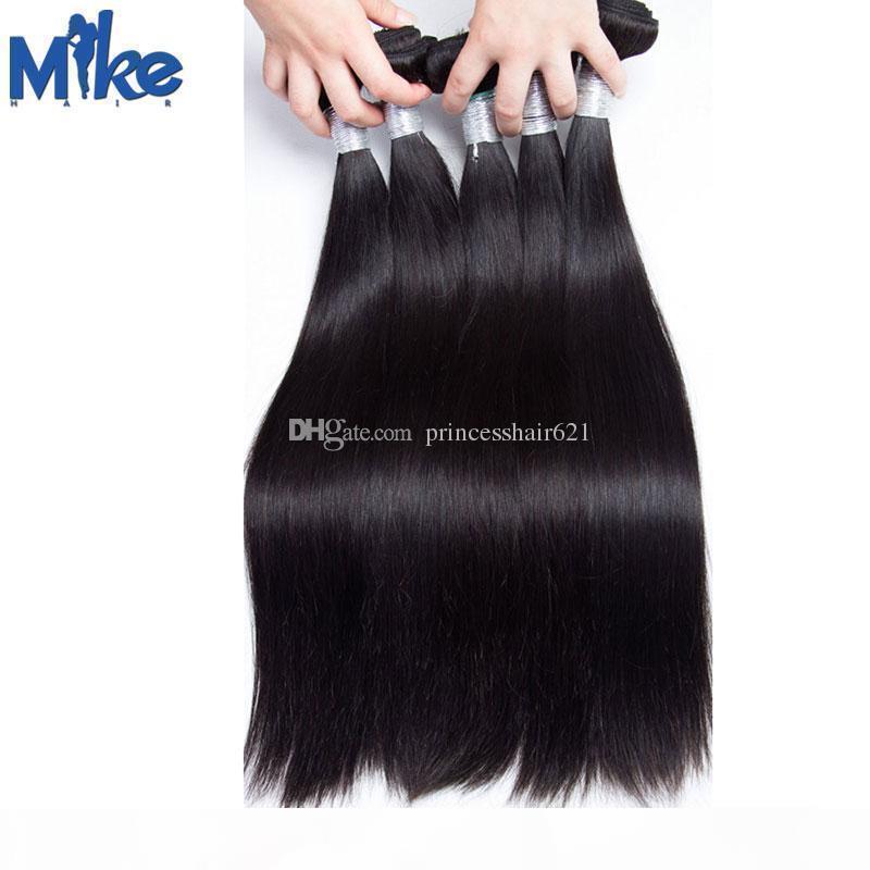 Mikhair peruano indiano Malásia Cabelo Reta Tece Duplo Wefted Soft Human Human Extensions Mink Brazilian Hair Weave Bundles 6 pcs lote