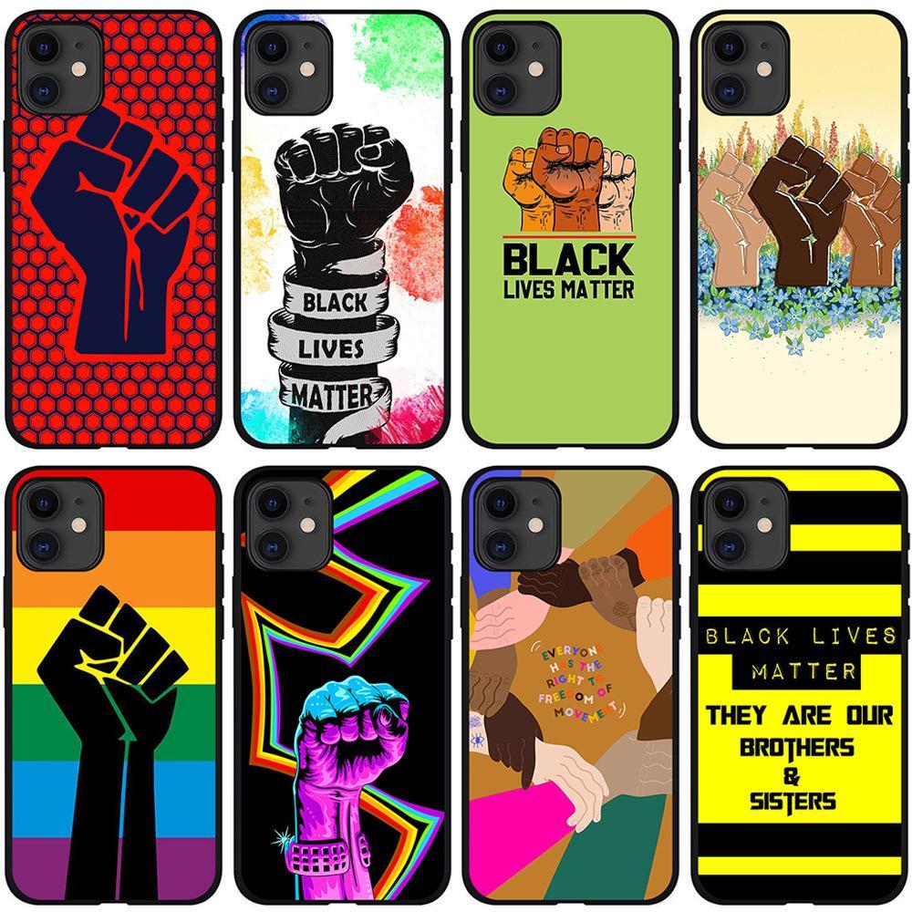 Nero Lives Matter Human Rights Phone Case Pull Protective Soft Grip Premium Silicone TPU Casi Fashion Designer Cover per iPhone 13 Pro max