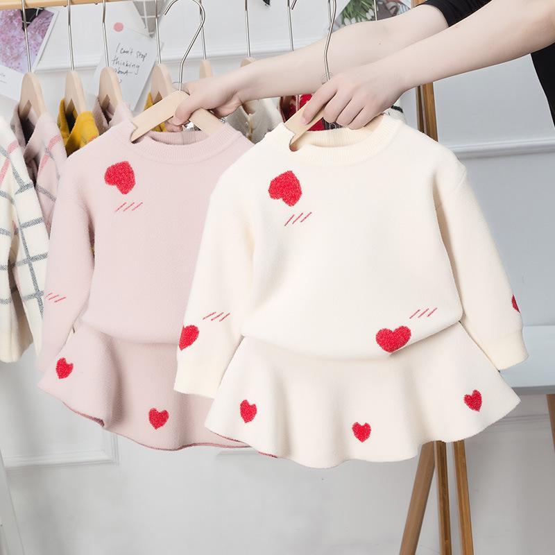 Kızlar Aşk Kalpleri Örgü Kıyafetler 2021 Bahar Yeni Çocuk Örgü Hırka + Pileli Etekler 2 adet Sevgililer Günü Çocuk Giyim 1001 Y2