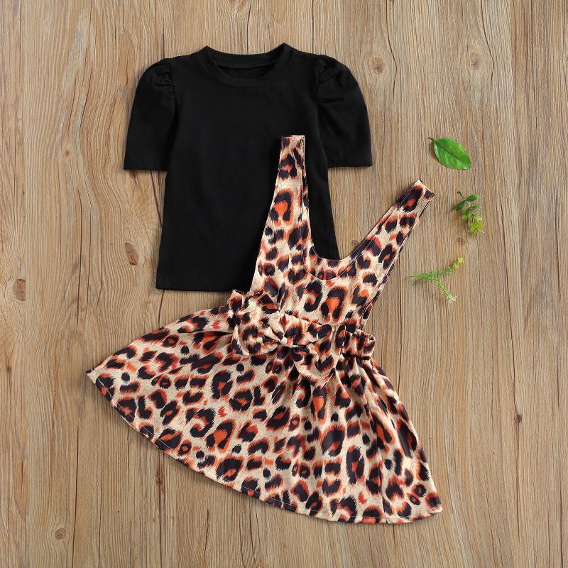 Наборы одежды 1-4-летний ребенок с коротким рукавом + леопардовый ремешок для печати платье с украшением лука Свободная версия летом