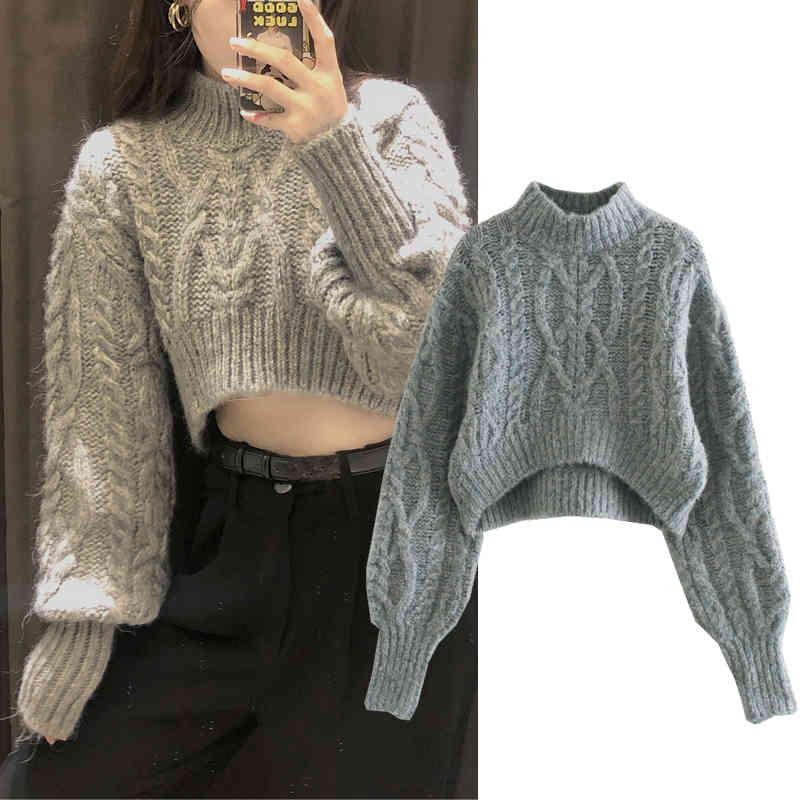 Women's Sweaters Women Autumn Jacquard Turtleneck knitted sweater winter Knitted sweaters Long Sleeve Casual Loose Knit pullover 6