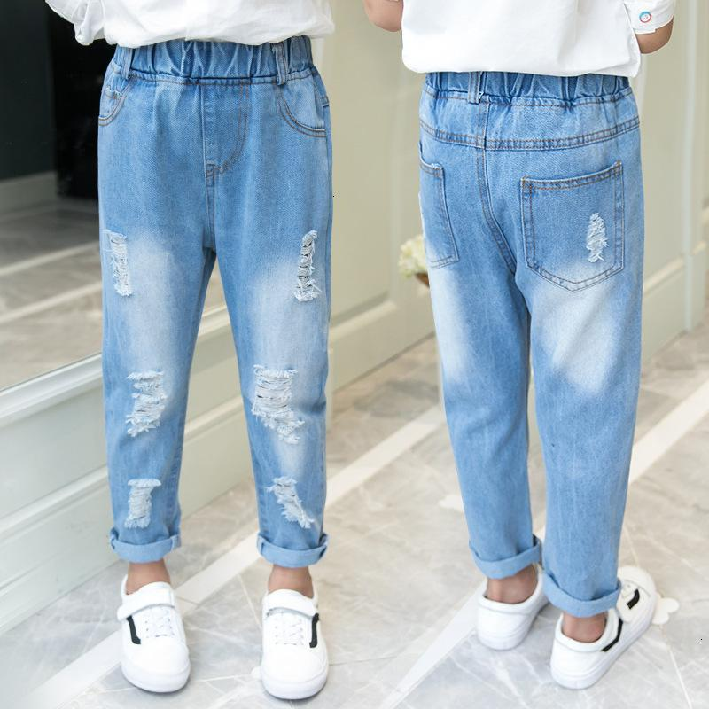 2021 Frühling und Herbst Neue Kleidung Mädchen Jeans Kinderkoreanische Multi-Loch-Hosen