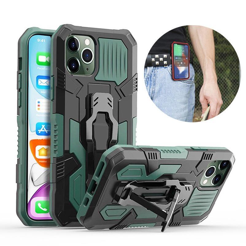 Mecha Armor Phone Case para iPhone 11 12 Bumper à prova de choque suporte de suporte de suporte de cinto de cinto para iphone x xs max