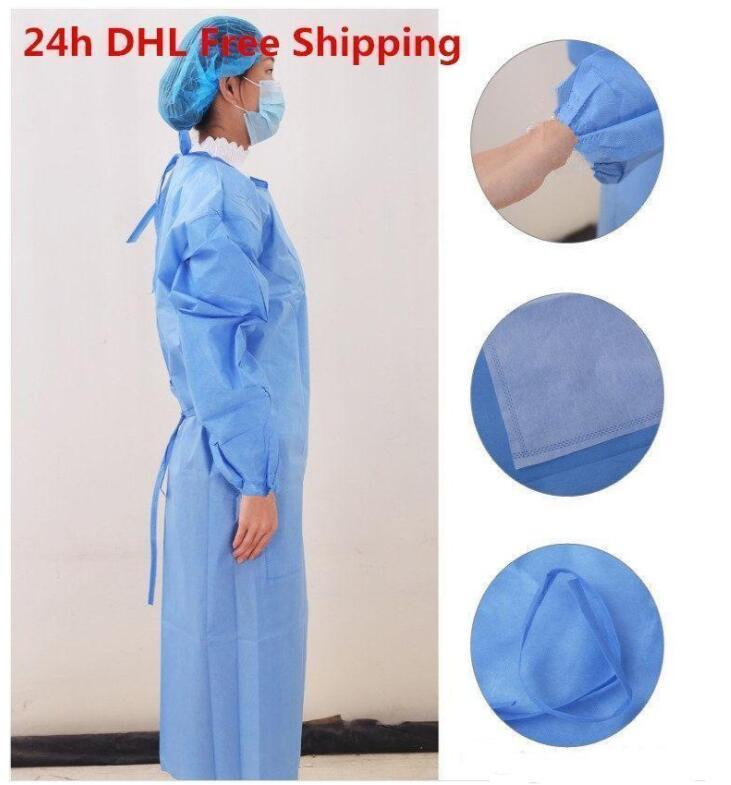 DHL Ship!Waterproof Isolation Clothes Frenulum Protective Clothing Disposable Gowns One Time Non woven Fabric Protection Suits BT27