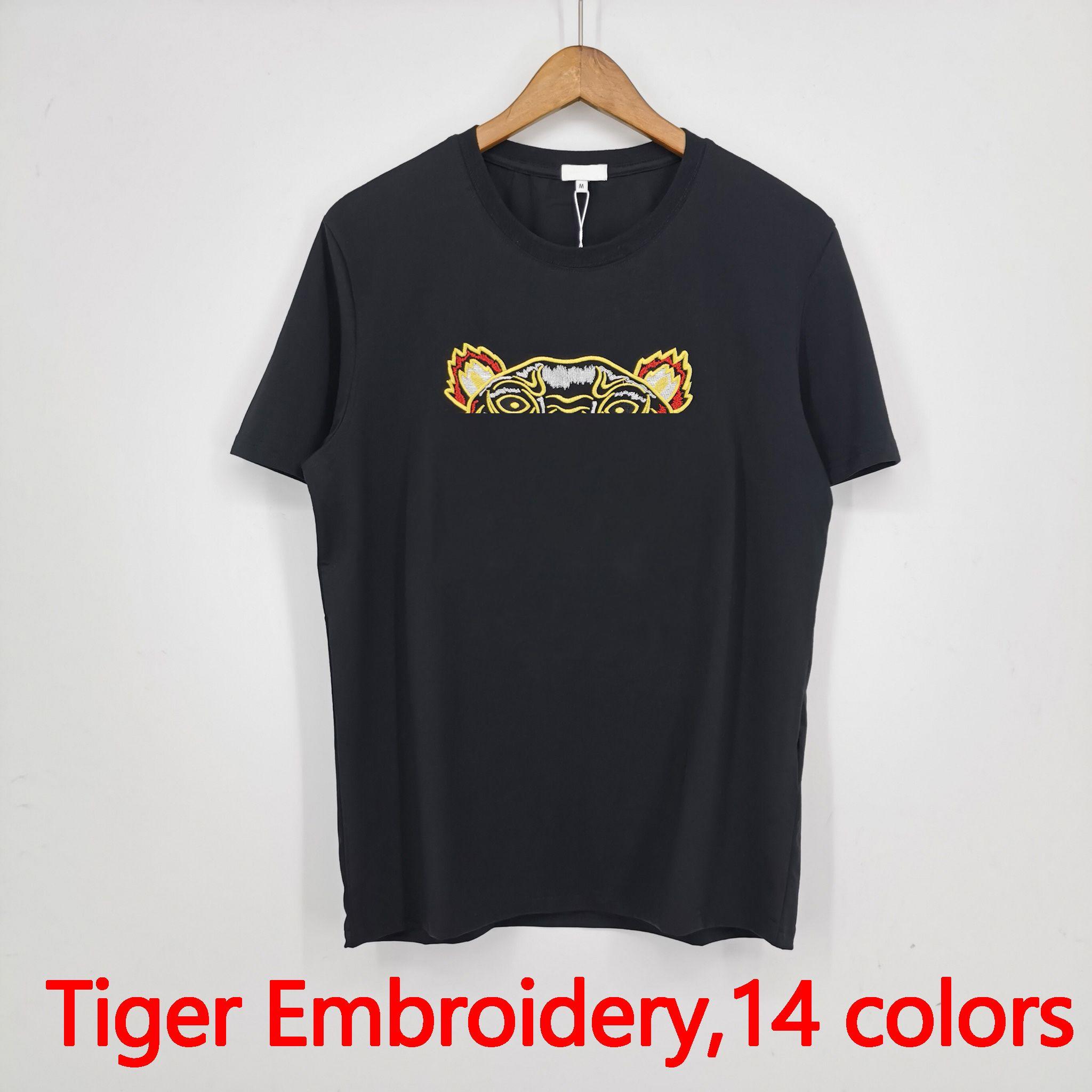 남성 패션 티셔츠 2021 유행 여성 티셔츠 호랑이 자 수 꼭대기 편지 남성 여자 여름 캐주얼 통기성 의류 아시아 크기