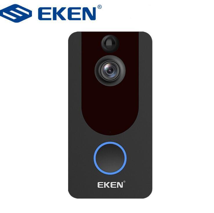 EKEN V7 HD 1080P سمارت واي فاي فيديو جرس الباب الكاميرا البصرية الاتصال الداخلي مع الرؤية الليلية الرأي IP جرس الباب الليلي الأمن اللاسلكي
