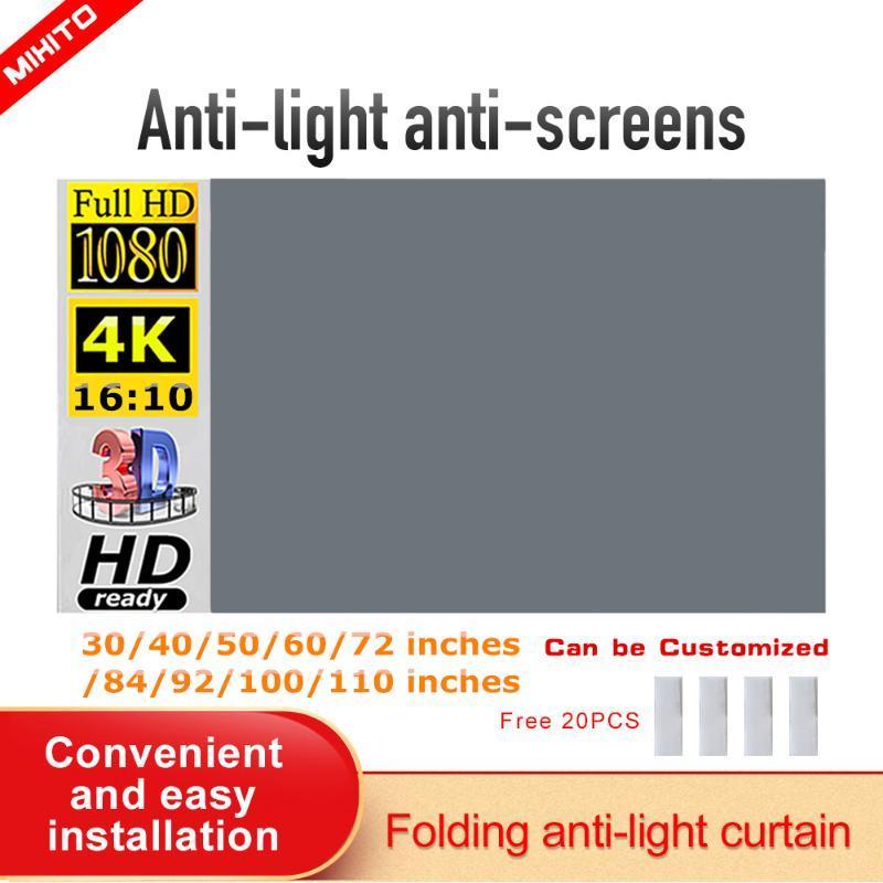 Écran de projection Écran du projecteur 100 120Inch 16:10 4K HD Films portables pliables pour la maison Théâtre Outdoor intérieure