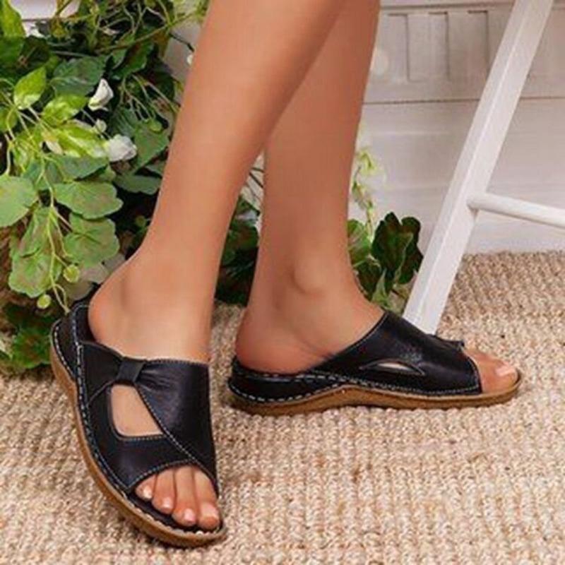 Zapatillas de plataforma de ladies de verano Zapatos de plataforma al aire libre para mujeres Sandalias de cuña Soild Color Color Abrir Playa