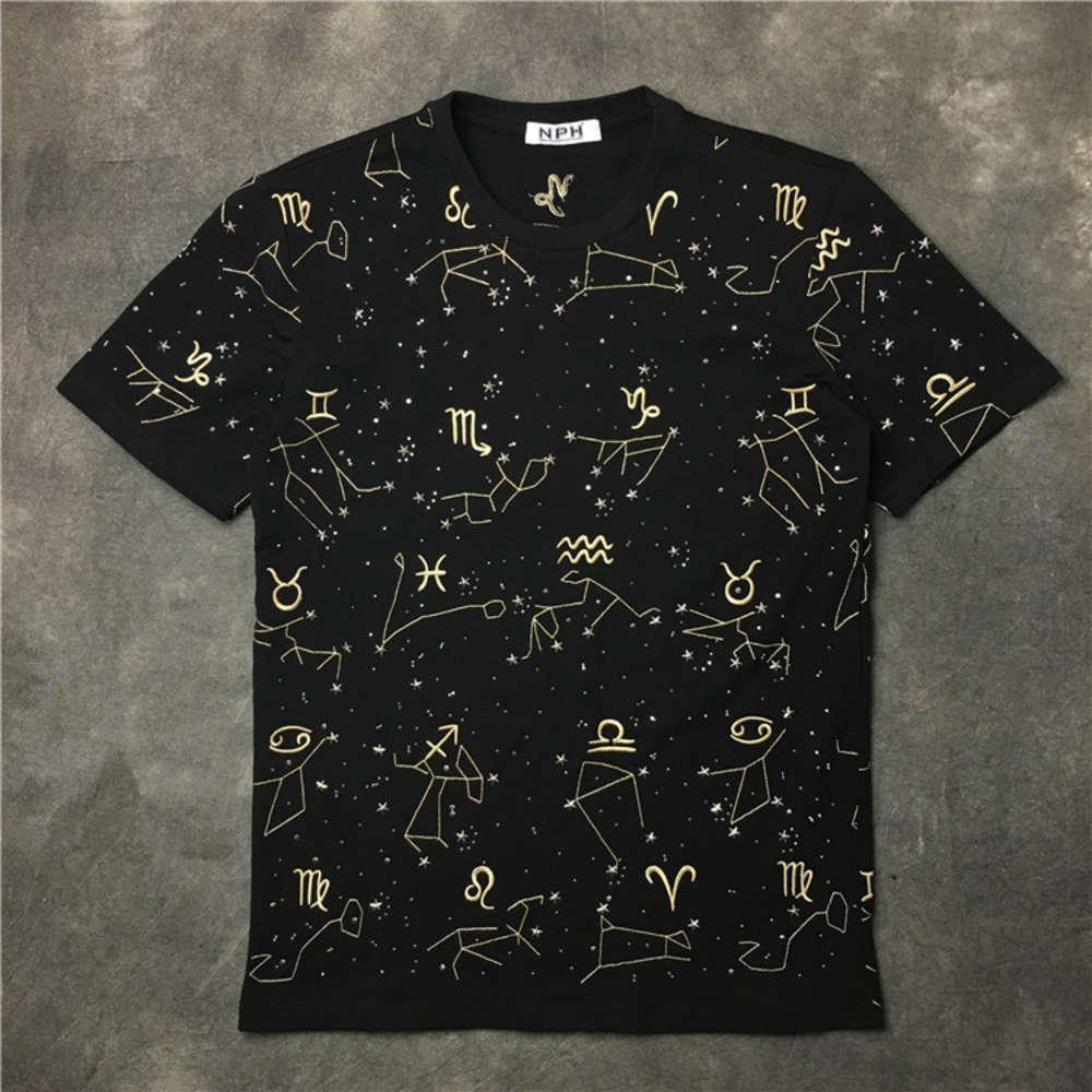 Hommes Short Sell Top Marque Starry Casual Broderie T-shirt Manches Homme Hot Hommes T-shirt Douze constellations Sky Tee Fashion T shir XBFPR