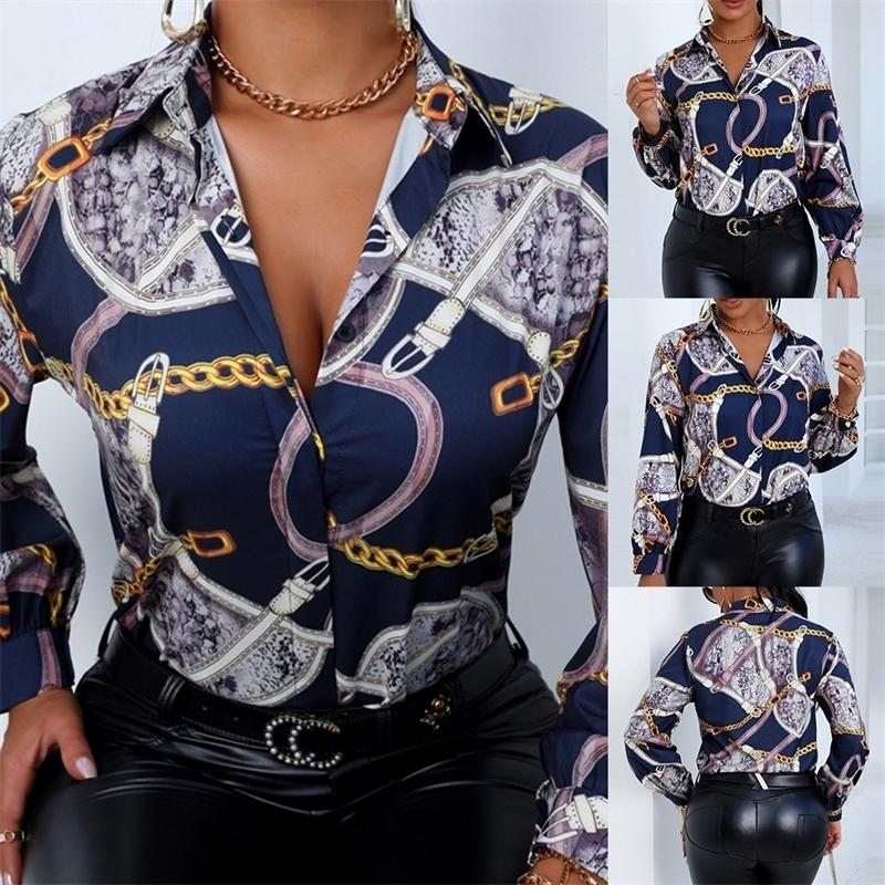 Yeni Tasarım Artı Boyutu Kadın Bluz Dinsiz Yaka Uzun Kollu Zincirler Baskı Gevşek Casual Gömlek Bayan Üstleri Ve Bluzlar D25 210317