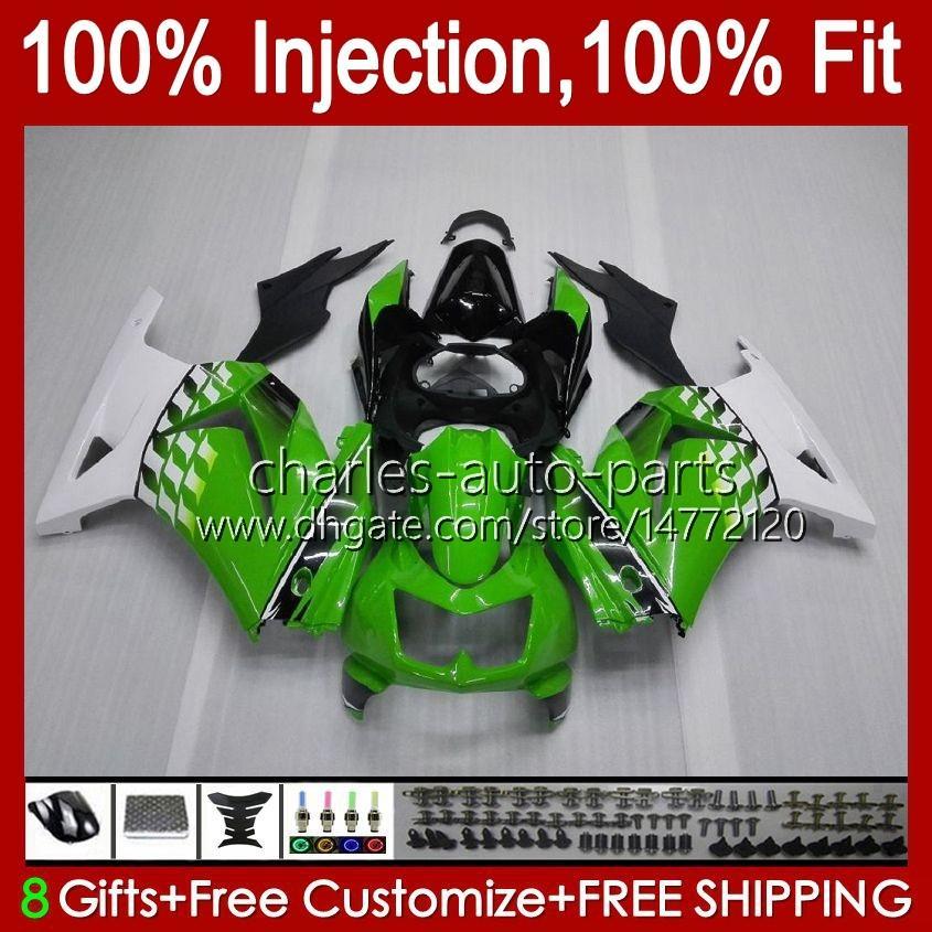 Kawasaki Ninja ZX250R 녹색 흰색 EX250 2009 2009 2011 2012 13hc.3 EX250R ZX-250R ZX250 ZX 250R 08 09 10 11 12 페어링