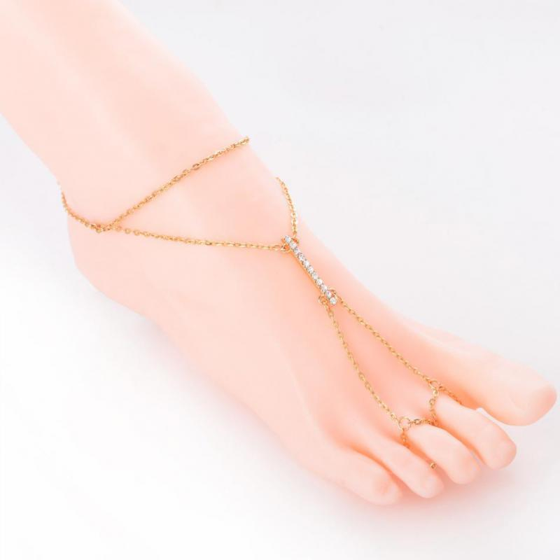 1 pcs Crystal Barefoot Sandals Anklet Bracelet For Women Rhinestone Bridal Toe Ankle Foot Chain Jewelry Beach Boho Jewelry