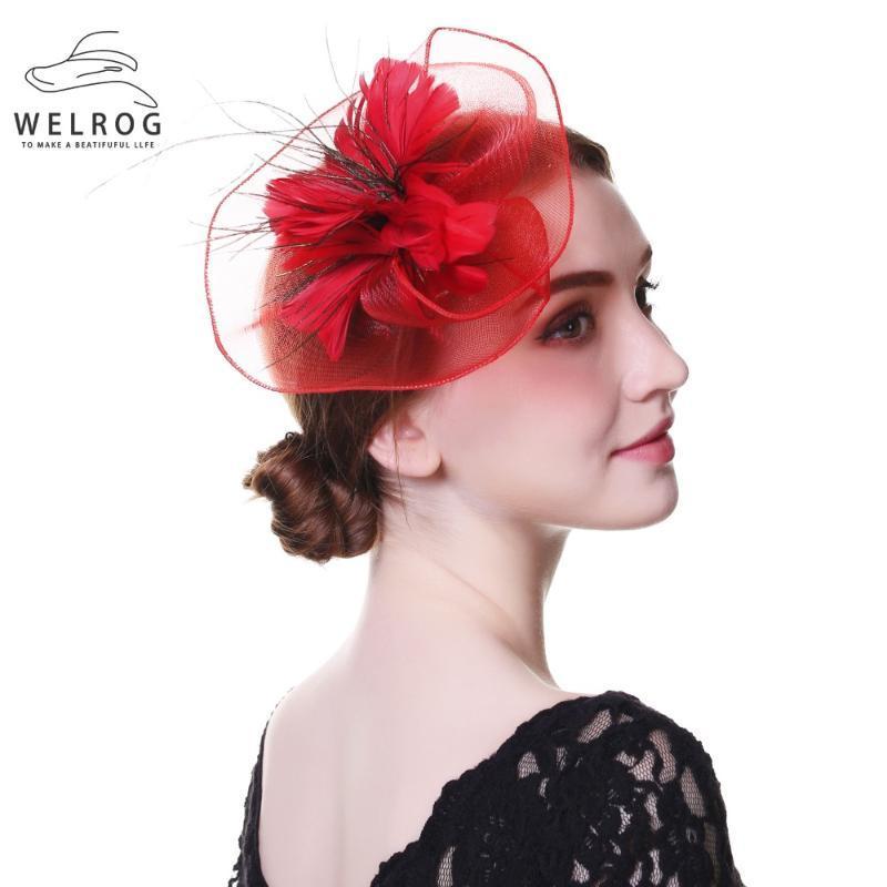 Stingy Rand Hüte Welrog Bridal Hochzeit Fascinatoren für Frau Schwarz Weiß Party Spitze Patchwork Blume Kristallfeder mit Schleier Kopfschmuck