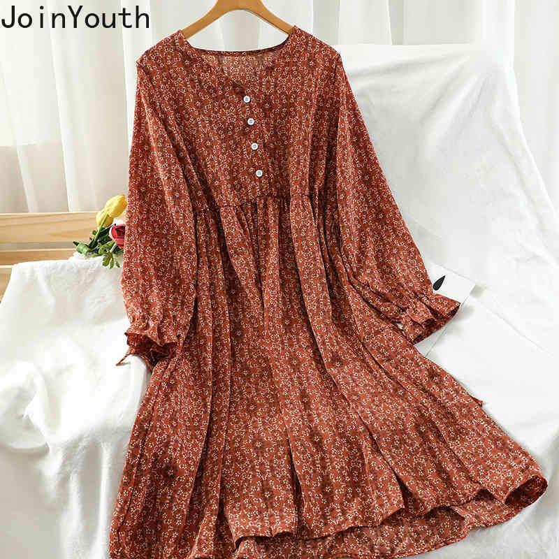 JoinTouth Vintage Stampa Donna Dress Dress Antnmn Nuovo Arrivo Manica lunga Lace Up Robe Slim Vita Abiti da donna Vestidos 7b044 210423