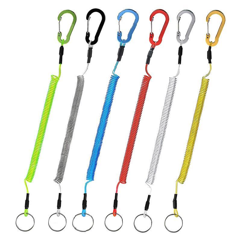 Booms Pesca T04 Cuerdas de pesca Cuerda de seguridad Cuerda de seguridad de acero con carabiner bobina Lanyard retráctil 1.5m Max Fishing Takle Tools 1563 Z2