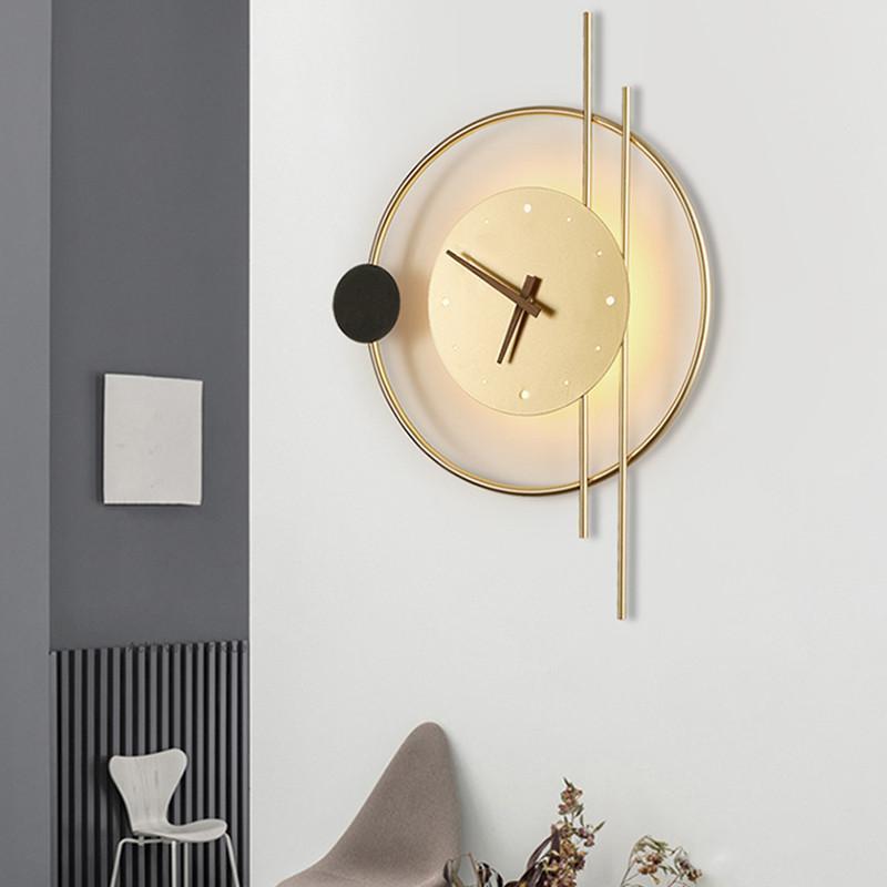 북유럽 아트 데코 블랙 골드 링 금속 시계 LED 벽 램프 산업용 로프트 복도 통로 계단 Sconce 거실 조명