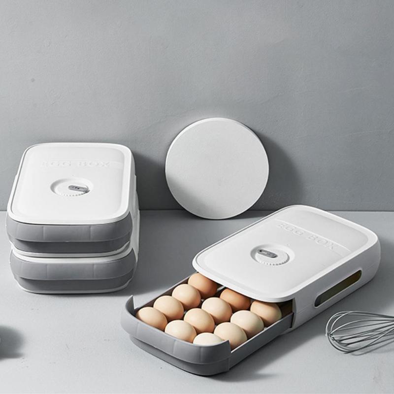 Bouteilles de stockage Boîtier en plastique Boîte à conteneurs en plastique Boîte d'organisateur avec couvercle pour œufs Réfrigérateur Plateau de cuisine