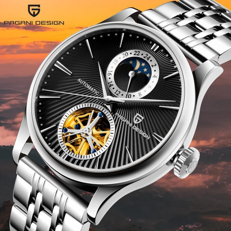2021 Otomatik Hareketi erkek İzle Safir Kristal Turbillon Ay Fazlı Su Geçirmez Relojes Hombre PD-1656 Saatı