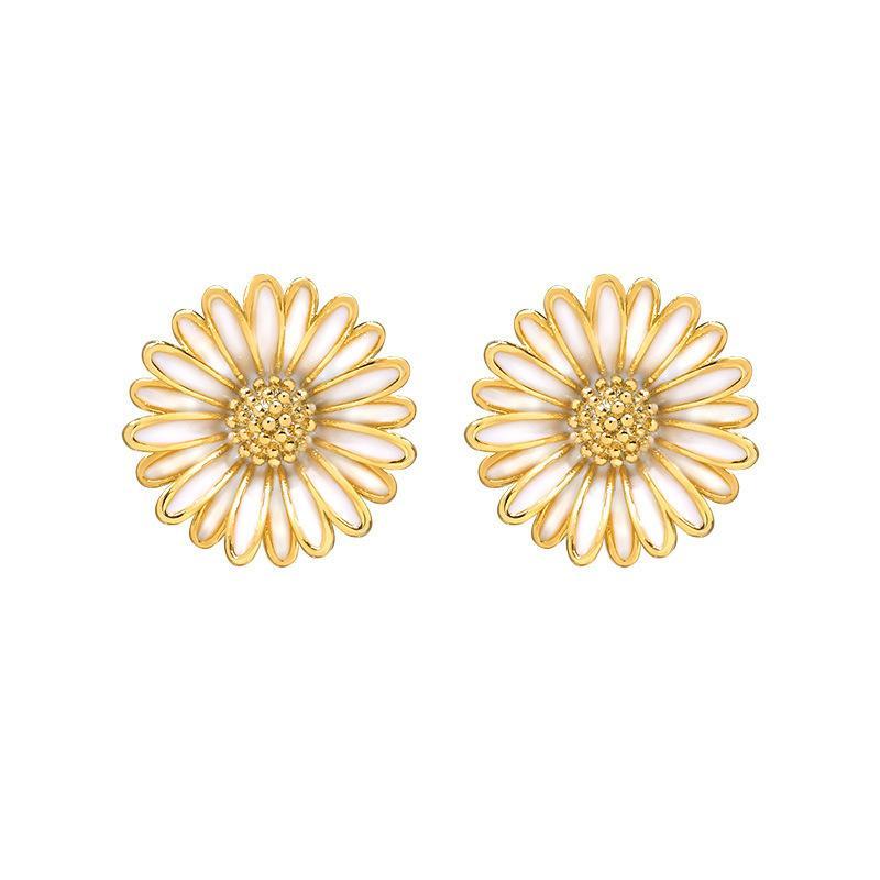 Hoop Daisy Petal Ear Stud Mujer 925 Pendientes de la aguja de plata esterlina Simple Temperamento Pequeño Colgante