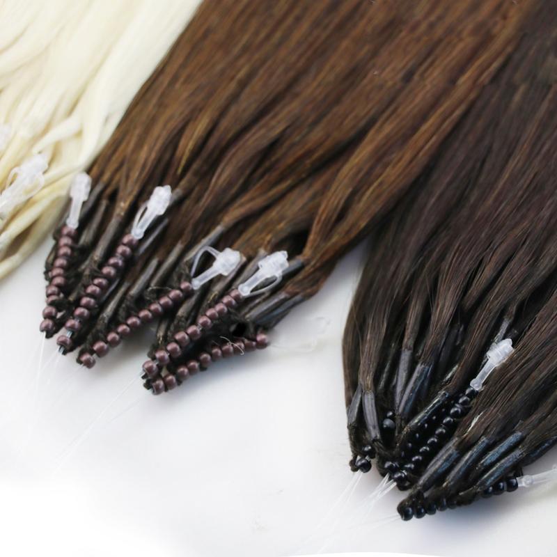 """14 """"-28"""" Remy Vierge Micro Beads Nano Rings Extensions de cheveux Humains Black Brown Blonde 100S 80g 100g Indien Brésilien Européenne"""