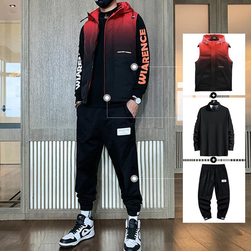 2021 новый жилет три костюмы осенью и зимнее пальто тенденции красивые утолщенные спортивные повседневные одежды мужские