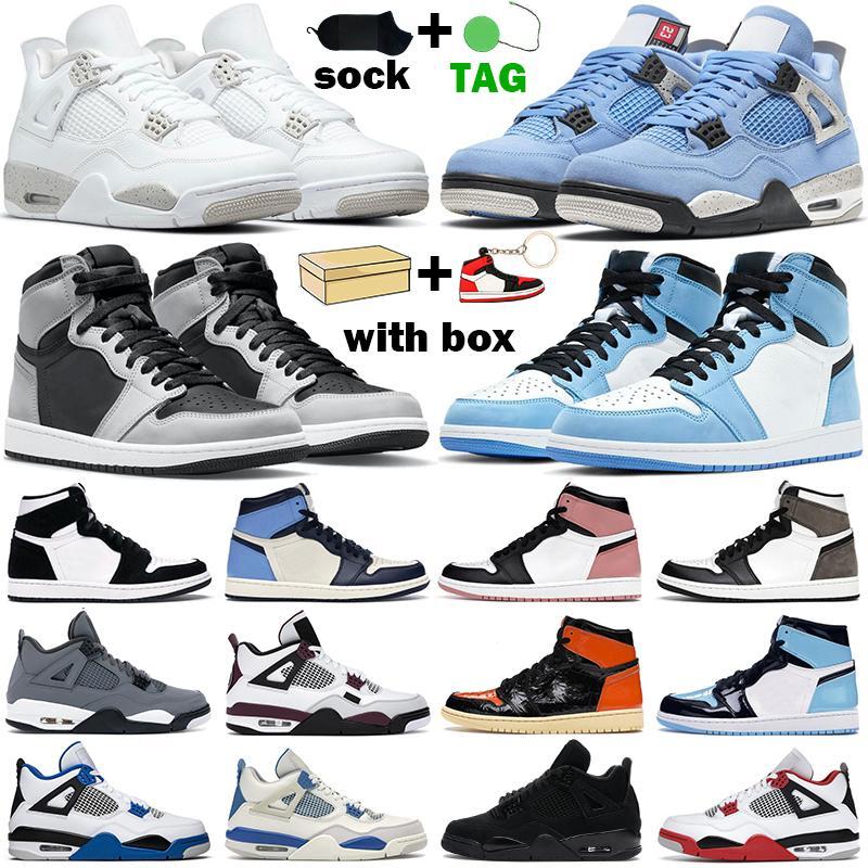 أحذية كرة السلة 1s عالية OG للرجال والنساء  1 متوسط دخان رمادي أسود معدني ذهبي سبج 4s Fire Red Cat أحذية رياضية رجالي