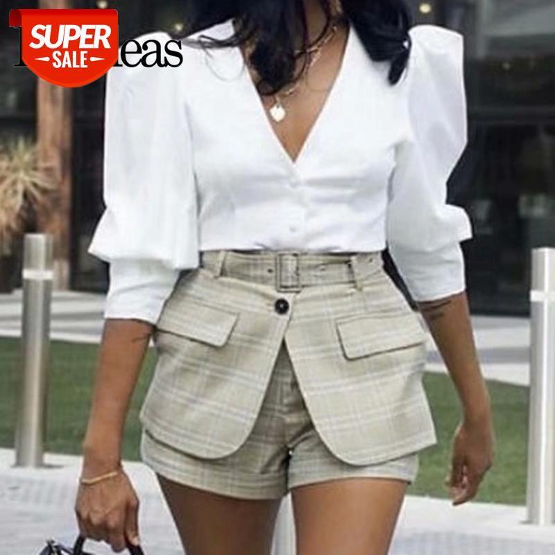 Moda V Neck blusa vintage blusas mujer de moda botões elegante branco blusa feminina dropshipping # du0c