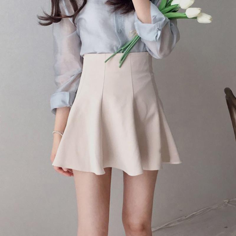 Южная Корея Dongdamen Универсальная базовая сплошная труба высокая талия большая линейная плиссированная юбка