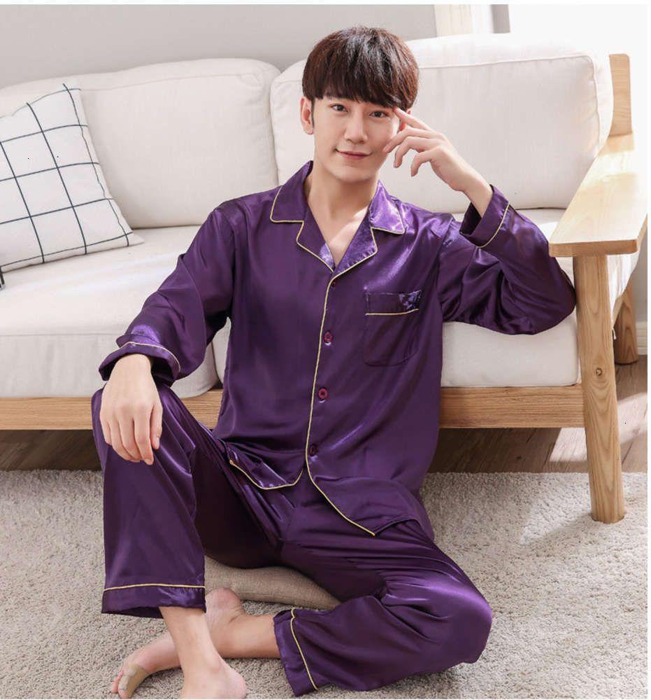 Purple Mens Nightwear 2pc Shirt Pants Dormire Pigiama Set Sleepwear Primavera Autunno Rayon Silk Nightgown Robe Vestiti Dimensione L - XXXL