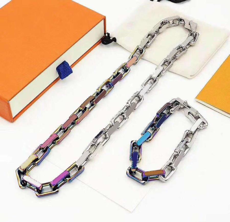 Bracelet pour collier pour homme Femme Colliers Fashion Unisexe Chaîne Bracelets Bijoux 5 Couleur avec boîte-cadeau