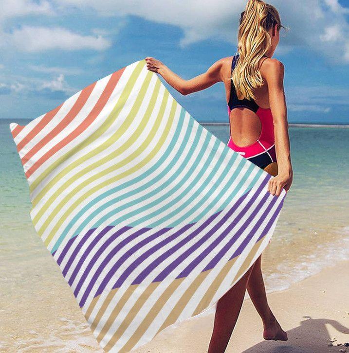 La dernière serviette de plage imprimée de 160x80cm, de style arc-en-ciel Sunscreen Sunscreen à séchage rapide à séchage rapide à séchage rapide, support logo personnalisé