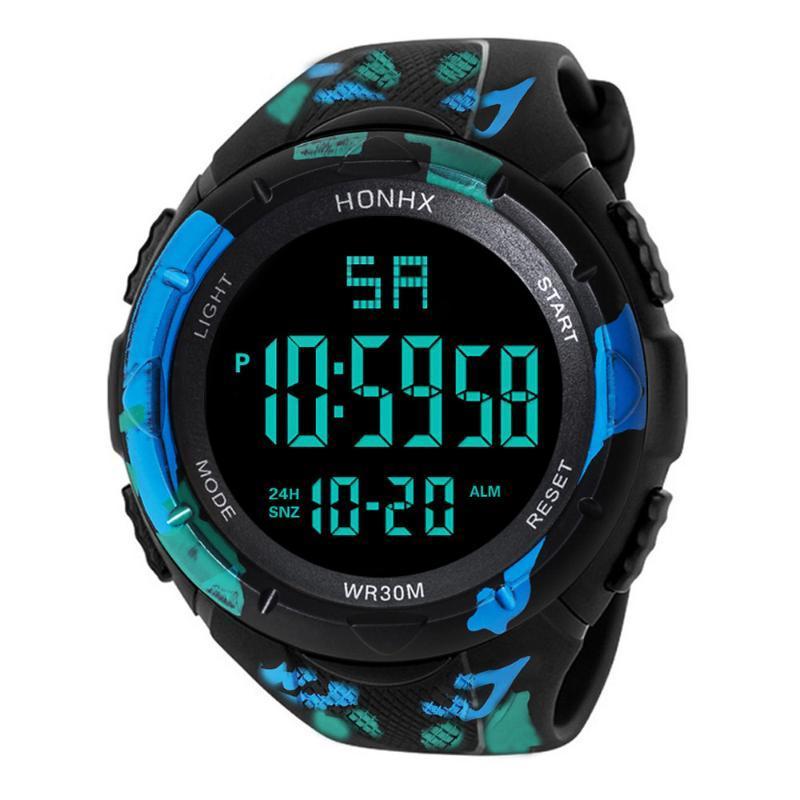Hommes de luxe analogique silicone montre numérique sport LED 50m imperméable poignet hommes Sports Relogio Masculino montre-bracelet