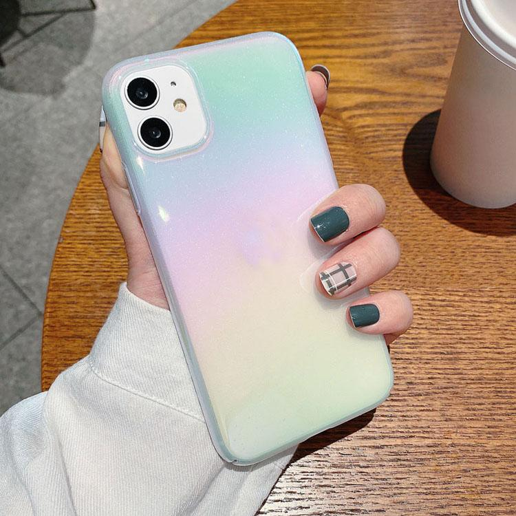 Capa de telefone colorido transparente à prova de choque laser tampa traseira macio tpu hard pc arco-íris para iphone 12 11 pro max xs