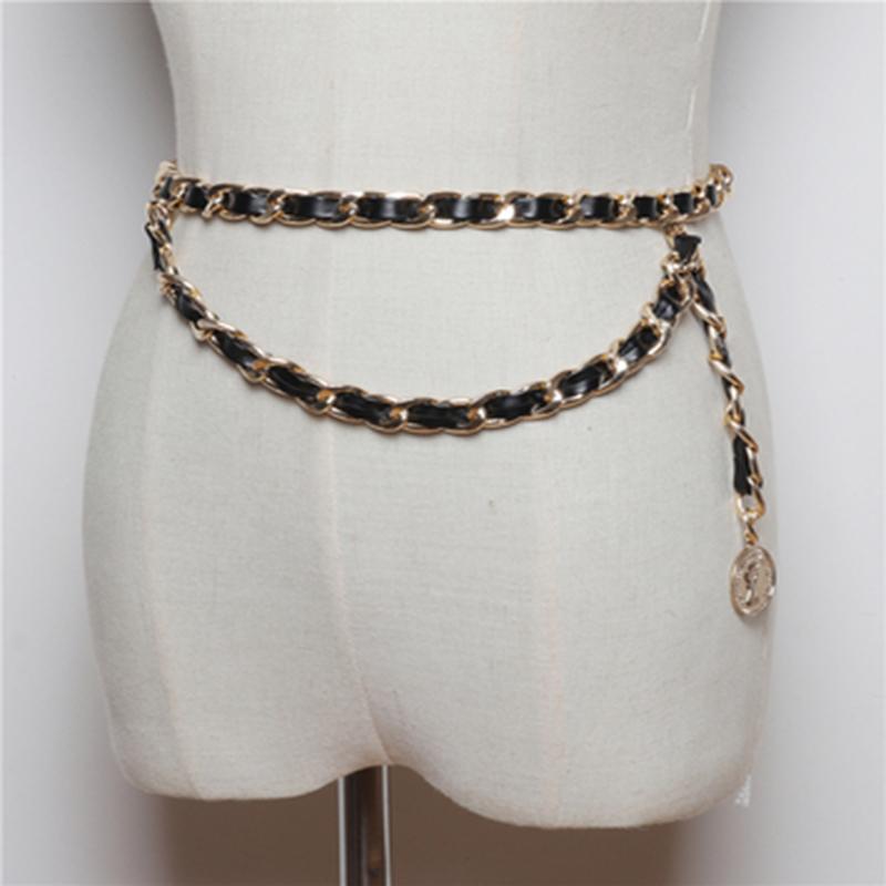 مضفر سلسلة عارضة بو الجلود حزام معدني الخصر شخصية أنيقة النساء اللباس الديكور رقيقة حزن J1209 IOZO