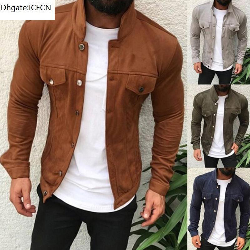 2021 Street Outwear Chaqueta de cuero para hombre Casual Moda Soporte Cuello Chaqueta Motocicleta Hombres Slim Style Calidad Cuero Hombres