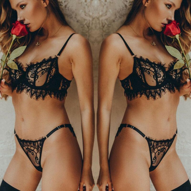 BRAS Sets Sexy Mulheres Lingerie Sheer Lace Underwear Sleepwear G-String Bra Set Nightwear Black 3fs