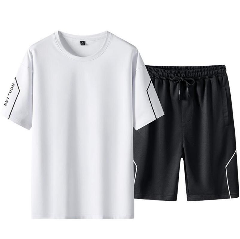 Men's Tracksuits T Shirt + Short Set Male Clothes Summer Casual Sleeve Tees Pants Suits Sports Running Streetwear Tops Tshirt