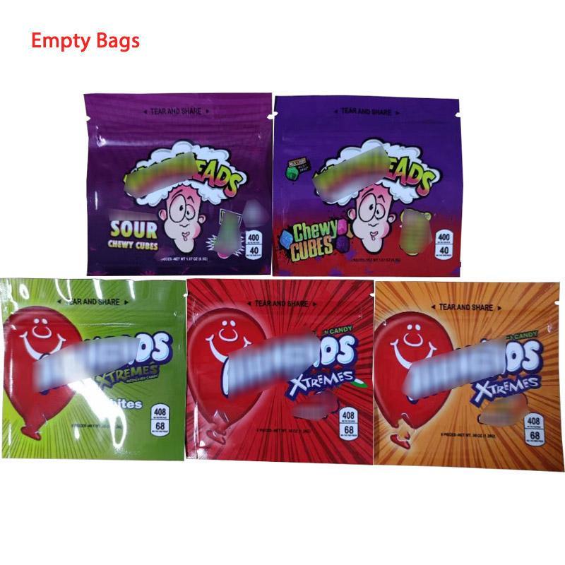 Borsa per imballaggio EDIbles W * Heads 400mg A * rheads 408 mg di cinque tipi 9 * 8.8 cm Cubetti gommosi Bites Gummi Candy Contenitore