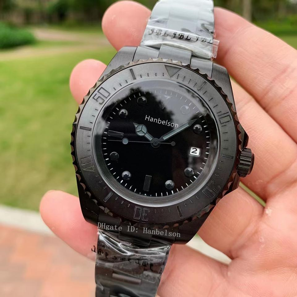Montre De Luxe 2813 Otomatik Mekanik Hareketi Erkek İzle Yüksek Kalite Tüm Siyah 316L Paslanmaz Çelik Watchband Relojes Lujo Para Hombre