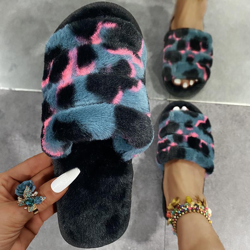Slippers Autumn Winter Casual Keep Warm Female Comfortable Fluffy Slipper Ladies Soft Bottom Plush House Women 2021