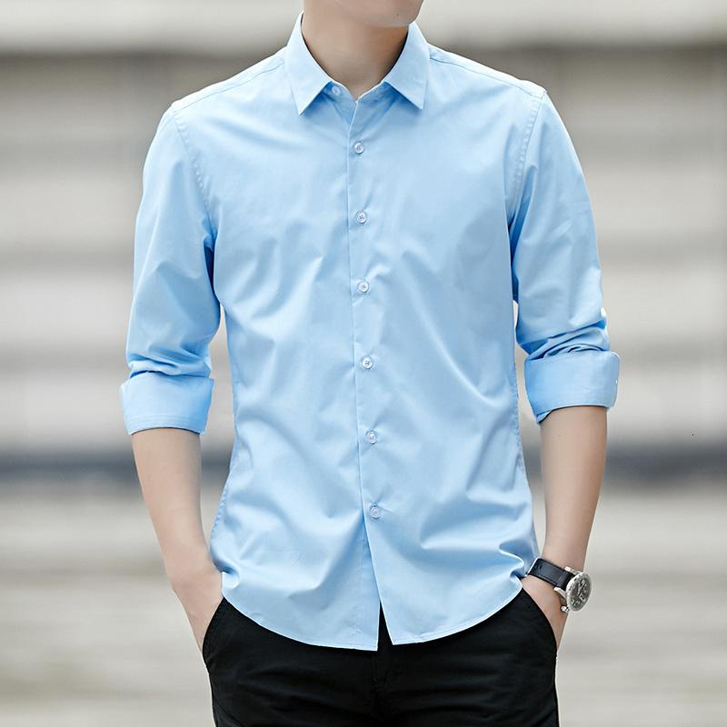 Spring Men's Classic Blanco Camisa de manga larga Negocio grande Camisa Casual Trabajo Coreano Slim Top