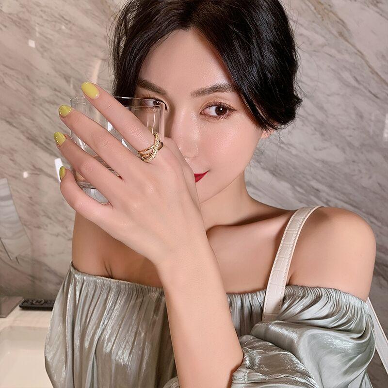 Anillos de apertura geométrica de diseño geométrico de diseño de lujo para mujer Joyería de moda coreana chicas de boda chicas de anillo inusual conjunto