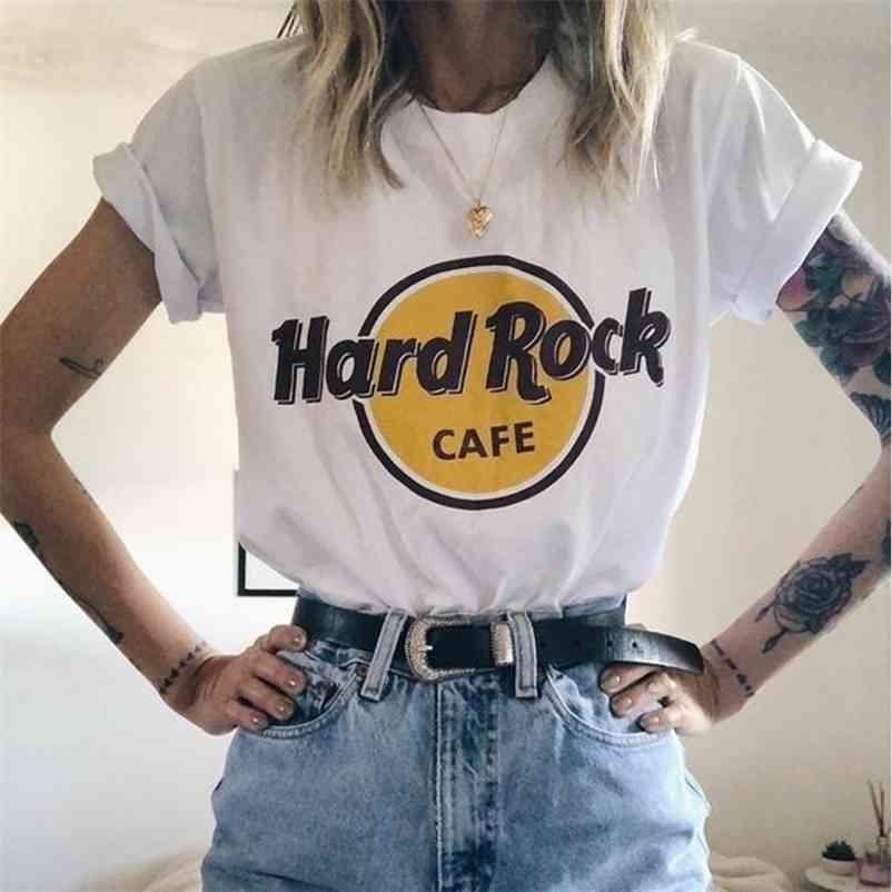 Verão Hard Rock Café Carta Impressão T Camiseta Grunge Mulheres Estética Manga Curta Casual Kawaii Harajuku Tops Tees 210320
