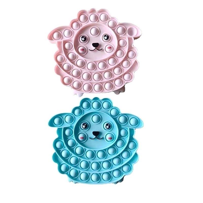 Little Sheep Pioneer Fidget Toys Push Pop Niños de silicona Burbuja de silicona Descompresión Poppers Autismo Necesidades especiales Reviever Squeeze Toy G505Y6J