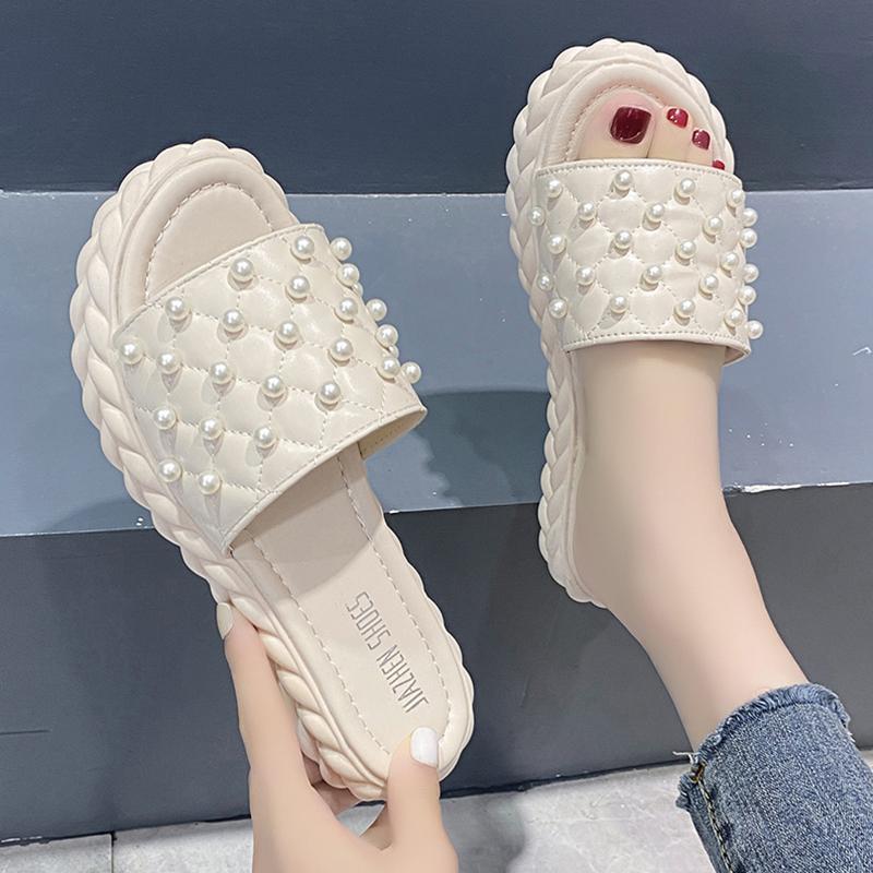 Terlik Ayakkabı Kadın 2021 Kauçuk Pantofle Platformu Dize Boncuk Med Düz Temel PU Slaytlar Seksi Bayan Açık P